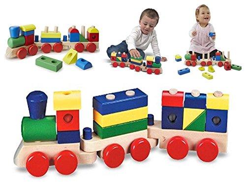 Train en bois multicolor avec 15 éléments à empiler - premier âge dès 1 an - Emboiter, déboiter, faire rouler, tirer, pousser, s'amuser...