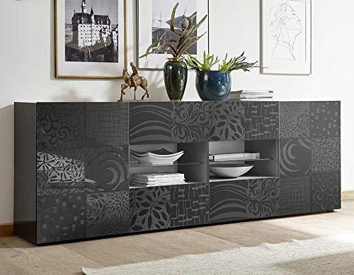 M-012 dressoir grijs gelakt 240 cm design ELMA 2 L 241 x P 42 x H 84 cm grijs.