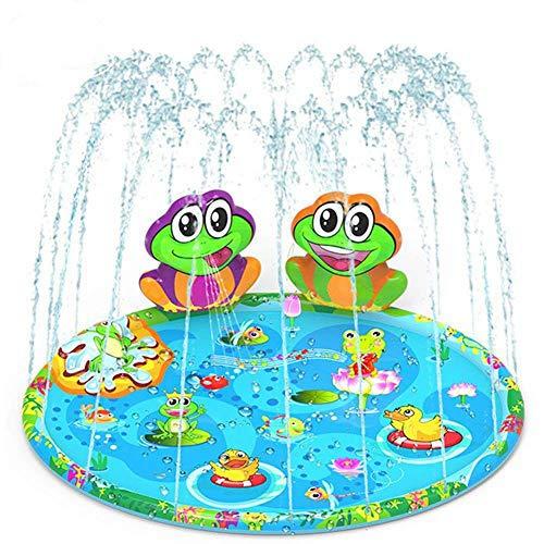 Toyhigend 噴水マット プレイマット 噴水プール ビニールプール 噴水おもちゃ 子供 夏 水遊び 親子遊び 芝生遊び アウトドア 誕生日プレゼント マットカエル付き 140CM直径
