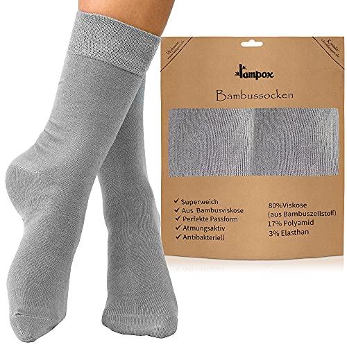 lampox Bambussocken (6 Paar) Atmungsaktiv Socken Business Sport Laufen Reduziert Schweiß(43-46, Grau)