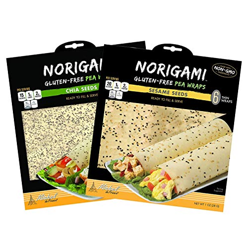 Norigami Non-GMO Gluten-Free Pea Wraps Sesame Seeds and Pea Wraps Chia Seeds (6 Wraps Per Pack), Low Carbs, High Protein, Vegetarian, Ready To Fill And Serve Wraps, Thin And Healthy Wraps (2 Packs)