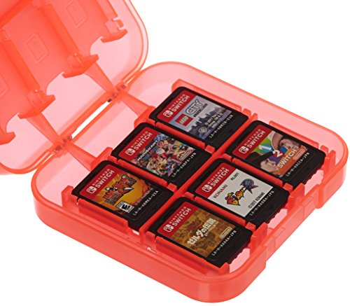Amazon Basics Game Storage Case for 24 Nintendo Switch Games - 3.4 x 3.4 x 1 Inches, Red