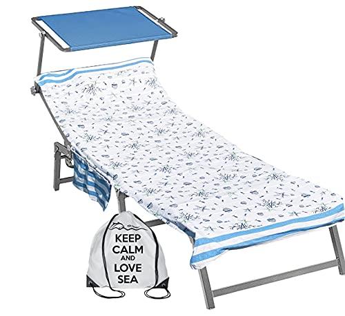 telo mare lettino Tex family Telo Mare fouta Lettino Pesci Blu in Cotone BEDDY Beach © con Tasche Misura CM. 75 X 195 e Zaino Spiaggia