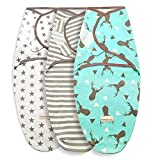 Swaddle Blanket Newborn Adjustable Sleep Sack Wrap,Soft Cotton,0-6 Months,3 Pack