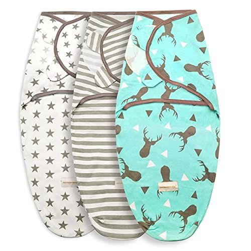 Swaddle Wrap for Newborn, 0-6 Months,Set of 3,Soft Cotton (Little Stars)