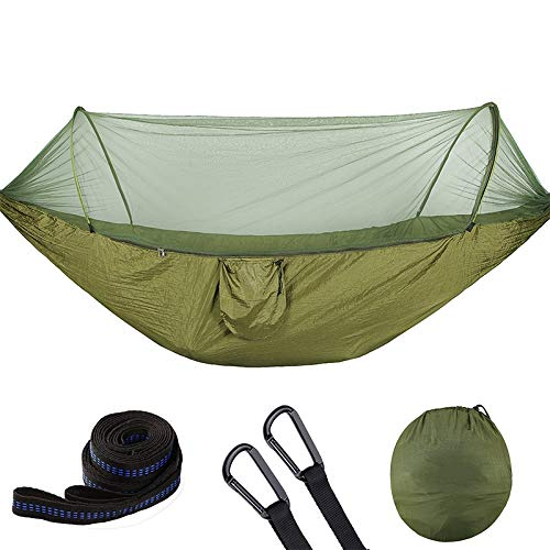 WuqiAng Outside Camping Full-Automatic Bivouacking Hammock, Portable Parachute Hammock with Veiling Mosquito (Color : Army Green)