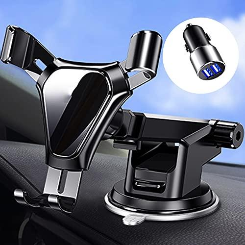 Soporte Para Teléfono De Coche,Con Clip De Salida De Aire, Aleación De Aluminio + ABS ,Almohadilla De Silicona, Negro, Plateado Para Soporte De Teléfono Móvil Con Ventosa De Escritorio,plata ,negra