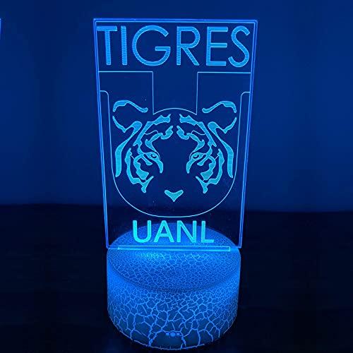 Luz nocturna 3D Tigres Monterrey Crack Base 7 colores Lámpara de decoración del hogar Cable USB Energía de la batería Regalo para niños o adultos -control remoto
