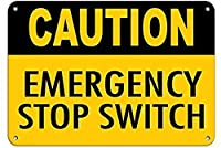 注意緊急停止スイッチ壁金属ポスターレトロプラーク警告ブリキサインヴィンテージ鉄絵画装飾オフィス寝室リビングルームクラブのための面白い吊り下げ工芸品