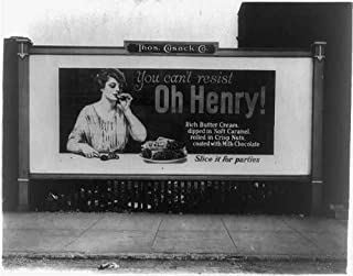 Infinite Photographs Photo: Billboard Showing a Woman Eating an Oh Henry Candy bar,1923,Thomas Cusack
