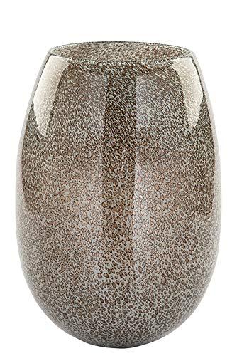 Fink Vase/Windlicht Silva - aus Glas grau glänzend mit Bläschen H 26 cm