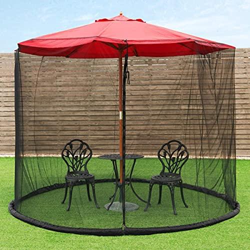 6.5-10 ft Patio Umbrella Mosquito Nets, Polyester Mesh, Universal Umbrella Netting Screen, Balcony Umbrella Cover, Fits 7.5 8 9 10 FeetT Outdoor Patio Tables Cantilever Offset Hanging Market Umbrellas