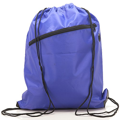 RayGar Drawstring Bags Backpack Rucksack School Book Bag With Corner Protectors / Large Front Zipped Pocket / Built- In Slot for Earphones Headphones / Sport Gym Swim PE Football Karate Ju-Jitsu Running Swimming Boxing Judo Netball Bag 'Brand New' (Purple)
