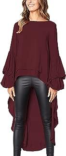 Womens Blouses and Tops Ruffle Long Sleeve Asymmetric High Low Club Shirt Dress