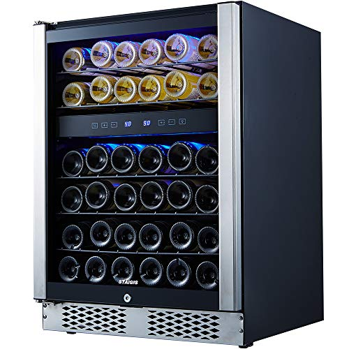 STAIGIS Wine Cooler - 15 Inch Wine Fridge for 30 Bottles - Small Wine Refrigerator with Glass Door and Concealed Handle - Freestanding 30-Bottle Mini Wine Chiller for Home, Office, Kitchen and Bar
