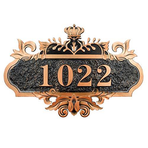 Hausnummer Personalisierter Haustürschild Vintage Hausnummerschild mit Individueller Gravur Selbstklebender Türschild Acryl Hausschield Türplatte für Familie Hotel Garten Büro Wohnung 1-4 Zahlen