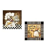 Vintage Restaurante Cocinero Pintura al óleo sobre Lienzo Carteles e Impresiones Anime Cuadro de Arte de Pared para decoración de habitación de Cocina sin marco-50x50cmX2