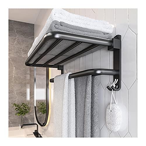 QYQS Toalla de La Pared Montado En La Pared Negro, Aluminio de Espacio, Diseño Plegable de 90 °, Toalla de Baño con Estante(Size:50x21x19cm,Color:Negro)