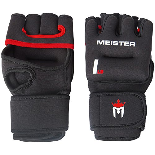 Meister Elite 1lb Weighted Workout Gloves for Cardio & Heavy Hands (Pair) - 1lb x 2 - Black