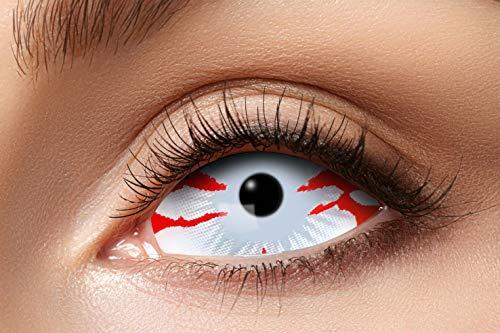 Eyecatcher 84091541.s14 - Farbige Sclera Kontaktlinsen, Blutstreifen, Farblinsen, 6 Monate, weiche Linsen, ohne Sehstärke, 2 Stück, Motivlinsen, Halloween, Karneval, Fasching