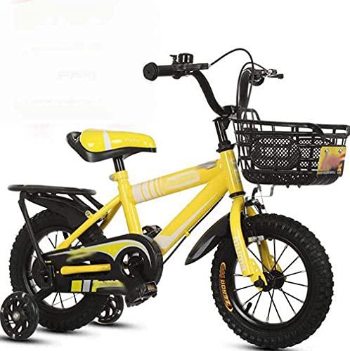 HUAQINEI Bicicletas para niños con Asiento Trasero Bicicletas de montaña para Hombres y Mujeres, Bicicletas para bebés, Bicicletas, carritos de Regalo para niños, Amarillo, 18 Pulgadas