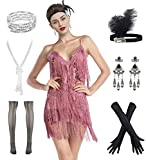 Women's Flapper Dress 1920s Gatsby Tassel Sway Dance Cocktail Dress with 20s Accessories Set (M, Pink)