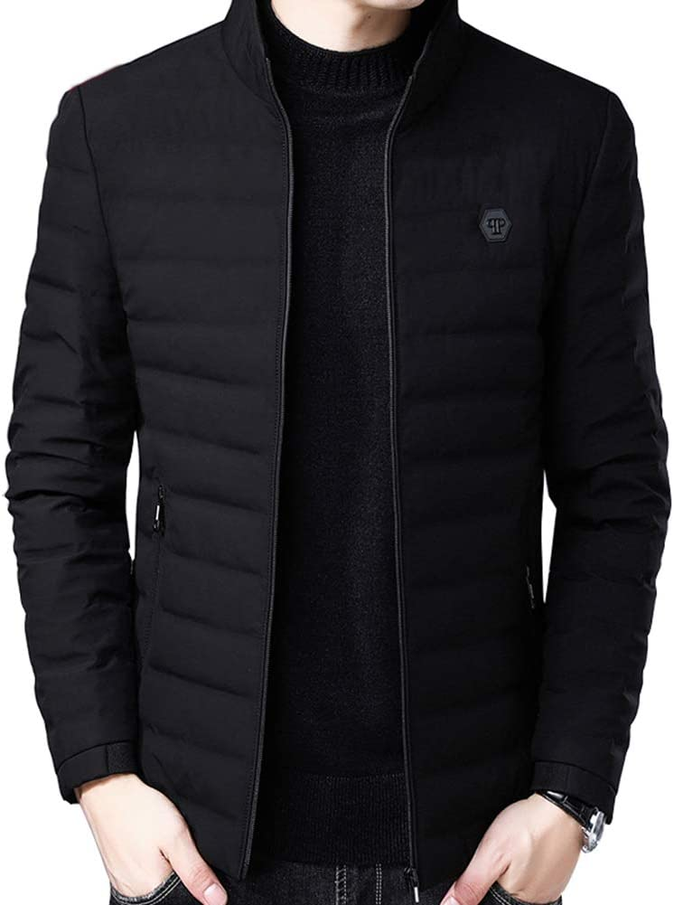 Down jacket Men's Casual in Winter, Light and Thicken Short Paragraph Stand Collar Jacket, Middle-Aged Outdoor Winter Clothing, Filling: 80% Gray Duck Down