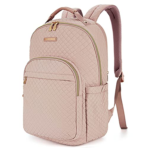 Backpack for Women LIGHT FLIGHT Laptop Backpacks Fits 15.6'' Computer Travel School College Work Professional Bags Stylish Stitch Pattern Daypack Pink