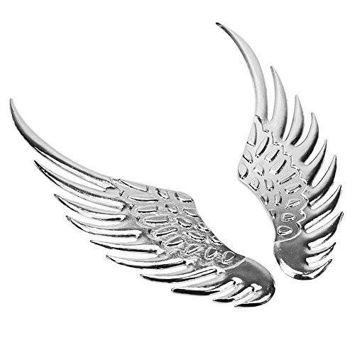 Pinzhi 2 x ton argent métal 3D Avion ailes Design Autocollant pour voiture moto Camion Décoration
