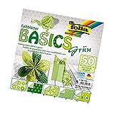 Folia papiroflexia/Origami Papel de 80 G/m², 50 Unidades, Varios diseños, Color Basics 15x15cm grün