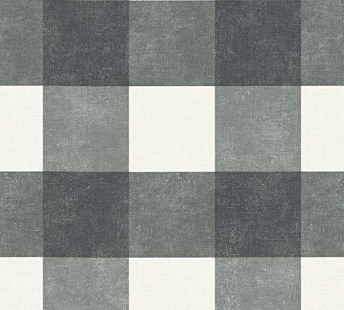 Livingwalls Vliestapete Paradise Garden Tapete kariert 10,05 m x 0,53 m schwarz grau weiß Made in Germany 367154 36715-4