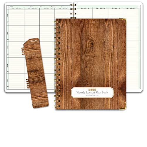 HARDCOVER 8 Period Teacher Lesson Plan; Days Vertically Down The Side (W208) (+) Bonus Clip-in Bookmark (Woodgrain)