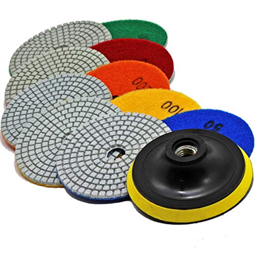 Stadea PPW184E Diamond Polishing Pads 4 Inch Wet Dry Set for Granite Quartz Marble Stone Concrete Travertine Polishing