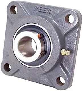 Peer Bearing PER UCF208-24 4 Bolt Standard Flange Bearing Unit, Cast Iron, Wide Inner Ring, Relubricable, Set Screw Locking Collar, Single Lip Seal, 1-1/2