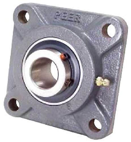 "Peer Bearing PER UCF205-16 4 Bolt Standard Flange Bearing Unit, Cast Iron, Wide Inner Ring, Relubricable, Set Screw Locking Collar, Single Lip Seal, 1"" Bore, 2-3/4"" Bolt Center"