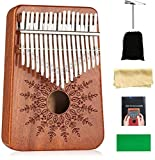 Kalimba 17 Keys Thumb Piano,Mbira Sanza Wood Finger Piano,Portable Musical Instrument with Tuning Hammer & Study Instruction,Birthday Gift for Adult Kids Beginners Professional