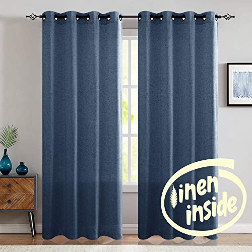 "jinchan Linen Curtains for Living Room Drapes Flax Window Curtain Panels for Bedroom (1 Pair 84"", Indigo Blue)"
