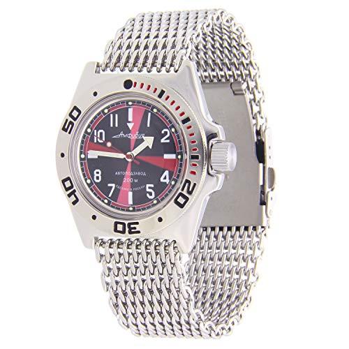 Vostok Amphibian #110650 Reloj automático 200WR Diver Shark Mesh
