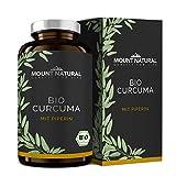 Bio Curcuma mit Piperin- 210 Kapseln im GLAS, der Umwelt zuliebe - hochdosiert mit Curcumin & schwarzem Pfeffer -vegan & ohne Zusatzstoffe -laborgeprüft aus Deutschland