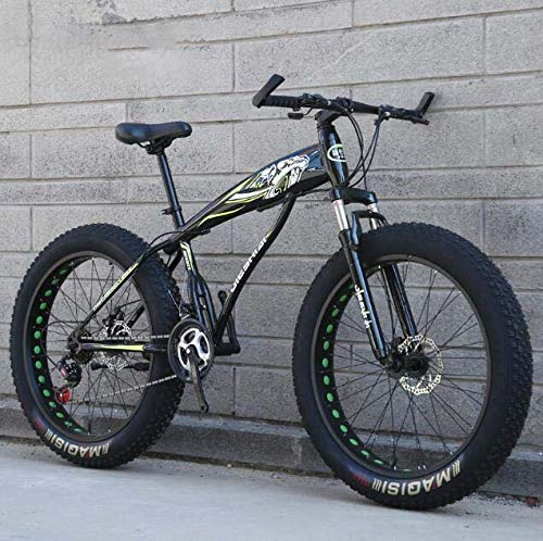 GASLIKE Fat Tire Mountain Bike Bicicleta para Hombres Mujeres, Bicicleta MTB Hardtail, Cuadro de Acero de Alto Carbono y Horquilla Delantera amortiguadora, Freno de Disco Doble,E,26 Inch 7 Speed