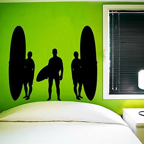 Sticker Mural Autocollant De Vinyle Stickers art Intérieure Décor Conception Murale Surfeur Vagues Planche De Surf Mer Plage Sports Extrêmes Cadeau Enfants Dortoir art Chambre à Coucher An252
