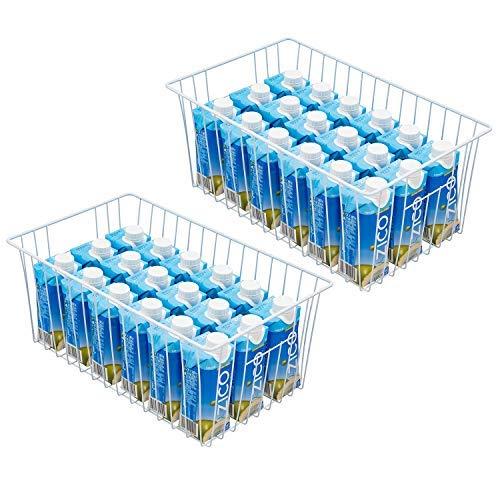 Cestas de almacenamiento de alambre para congelador de 40,64 cm, contenedores para nevera con asas integradas para gabinete, despensa..