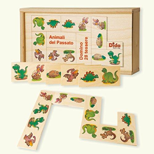 Dida - Domino Animali del Passato. Dinosauri, Tirannosauro, brontosauro illustrati nel Domino Gioco da Tavolo con Tessere e Scatola di Legno per Bambini.