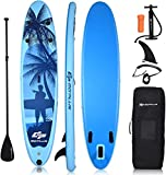 "Goplus Inflatable Stand Up Paddle Board, 6.5"" Thick SUP with Premium Accessories and Carry Bag, Wide Stance, Bottom Fin for Paddling, Surf Control, Non-Slip Deck, for Youth and Adult (Blue, 9.8ft)"
