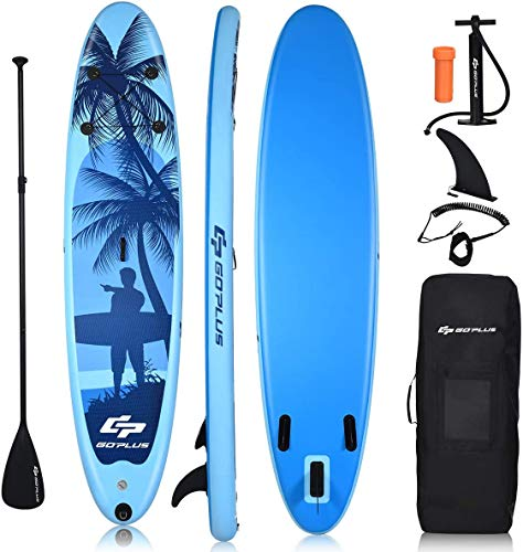 "Goplus Inflatable Stand Up Paddle Board, 6.5"" Thick SUP with Premium Accessories and Carry Bag, Wide Stance, Bottom Fin for Paddling, Surf Control, Non-Slip Deck, for Youth and Adult (Blue, 10ft)"