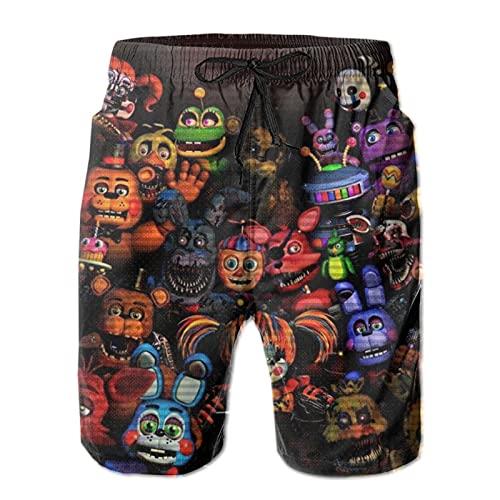 Clothes socks Herren Strand-Shorts, Five Nights at Freddy's Bear, Kordelzug Badehose, Bademode, Mesh-Futter mit Tasche Gr. Large, mehrfarbig