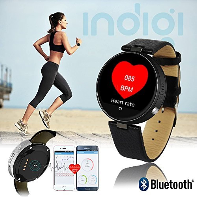 Neue Blautooth 4.0rund Leder Smartwatch–Siri Kontrolle–iOS & Android kompatibel–Herzfrequenz–Schrittzhler