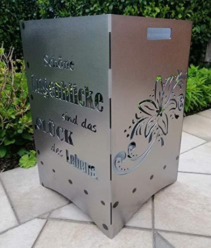 """Feuerkorb Feuerstelle Maße 40x40x60 cm Motiv\"""" Blume Lilie\"""" inkl. Ascheschublade und Zwischenboden sehr stabil GARTENDEKO FOCKBEK"""