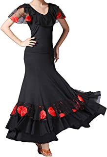Tookang Tops de Baile Flamenco Practica la Danza Moderna Tops de Manga Corta Acampanada Traje de Rendimiento