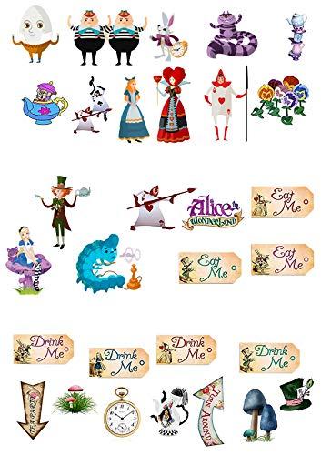 Tortenstecker zum Aufstellen, Cake Topper, 31Stück, mit Figuren aus Alice im Wunderland, Verrückter Hutmacher, Teeparty, Premium-Esspapier, Kuchenoblaten